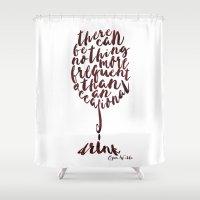 oscar wilde Shower Curtains featuring Drink - Oscar Wilde by Dianne Delahunty