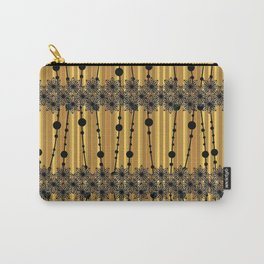 Abstract pattern with black lace stripes on a mustard background. Carry-All Pouch