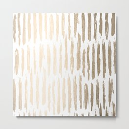 White Gold Sands Vertical Dash Metal Print