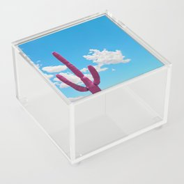 Pink Saguaro Against Blue Cloudy Sky Acrylic Box