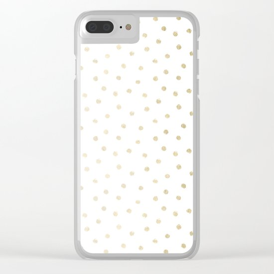 Delicate Gold Polka Dots Clear iPhone Case