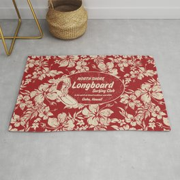 Club Surfing Longboard Surf Logo and Hibiscus Hawaiian Print      Rug