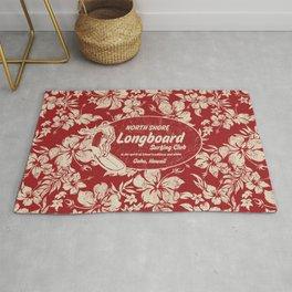 Club Surfing Longboard Surf Logo and Hibiscus Hawaiian Print      Rug