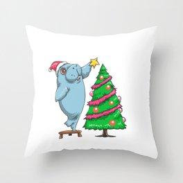 Manatee Christmas Tree Funny Sea Cow  Throw Pillow