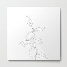 One line minimal plant leaves drawing - Berry Metal Print