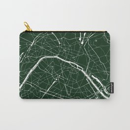 Paris France Minimal Street Map - Forest Green Carry-All Pouch