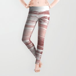 White elegant faux rose gold modern brushstrokes Leggings