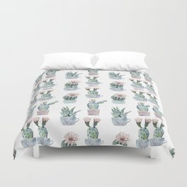 Girly Rose Cactus Pots Duvet Cover