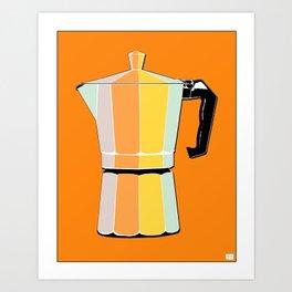 Retro Coffee Pot - Vintage Spring Colors on Morning Sun Background Art Print