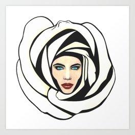 White Lunar Rose Art Print