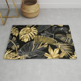 Abstract pattern with gold and black tropical leaves on dark background. Exotic botanical design, hawaiian style, luxury, golden, sparkle, glitter background Rug