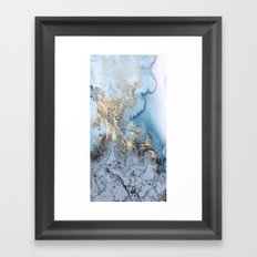 Gold and Blue Marble Framed Art Print