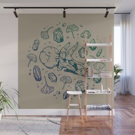 Triceratops Rocks! | Navy & Green Ombré Wall Mural