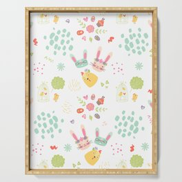 Easter Bunny Scandinavian Pattern Serving Tray