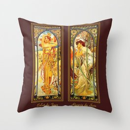 Vintage Art Nouveau - Alphonse Mucha Throw Pillow