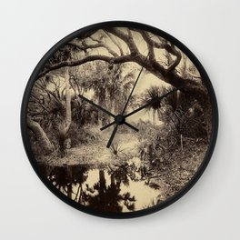 Live Oaks And Palmetto Everglades Florida 1886 - Vintage Photo By George Barker Wall Clock