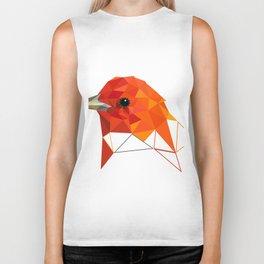 Bird art Summer tanager Orange bird Geometric art Biker Tank