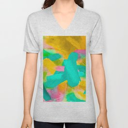 splash painting texture abstract background in blue yellow pink Unisex V-Neck