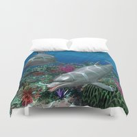dolphins Duvet Covers featuring Dolphins by Simone Gatterwe