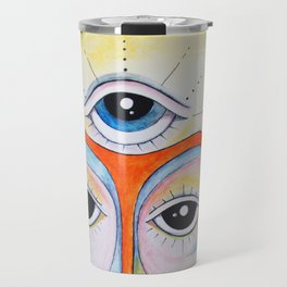 Third Eye Alien Geometric Painting Ascension Clairvoyant Channeled ARtwork Travel Mug