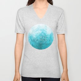 Fade to Teal - watercolor + doodle Unisex V-Neck