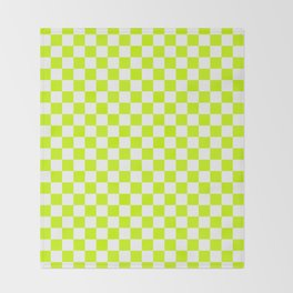 Small Checkered - White and Fluorescent Yellow Throw Blanket