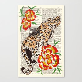 Snow Leopard in Summer (leopard with portulaca) Canvas Print