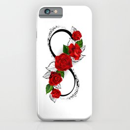 Infinity Symbol with Red Roses iPhone Case