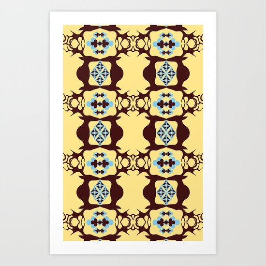 Deer Poker Theme Pattern Art Print