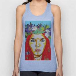 Red haired girl with flowers in her hair Unisex Tank Top