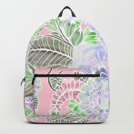 Blush pink lavender green white watercolor flowers Backpack