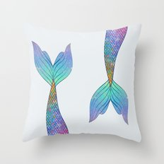 rainbow mermaid tail Throw Pillow