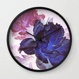 big blue floral Wall Clock