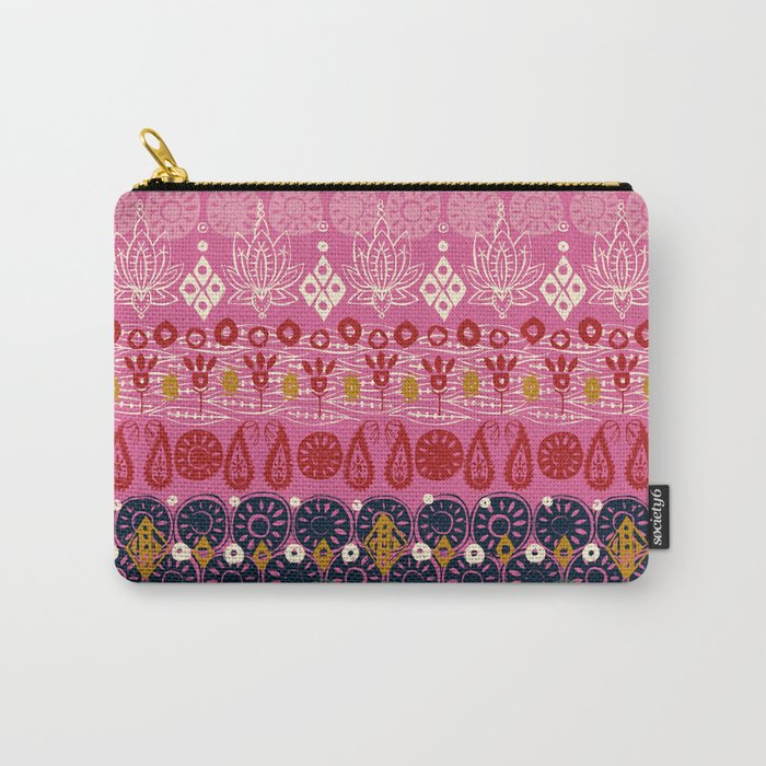 lotus block pink Carry-All Pouch