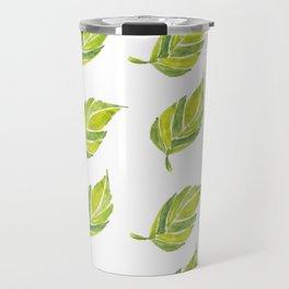 Green Leaf Water Color Travel Mug