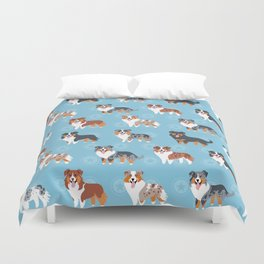 Aussie Shepherds Duvet Cover