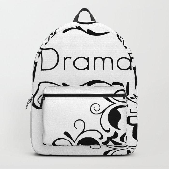 Drama Queen funny black & white vintage ornate framed words Backpack ...