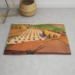 Classical Masterpiece 'Fall Plowing' by Grant Wood Rug