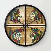 mexican Wall Clocks featuring mexican warriors by laika in cosmos