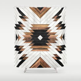 Urban Tribal Pattern No.5 - Aztec - Concrete and Wood Duschvorhang