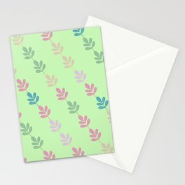 Flowers on Vine - Green Branches Stationery Cards