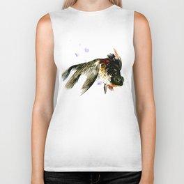 Black Moor, fish art, design cute black fish Biker Tank