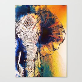 Tribal Watercolor Elephant (Color) Canvas Print