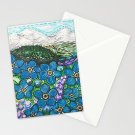 Mountains and Forget-Me-Nots Stationery Cards