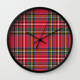 Red & Green Tartan Pattern Wall Clock