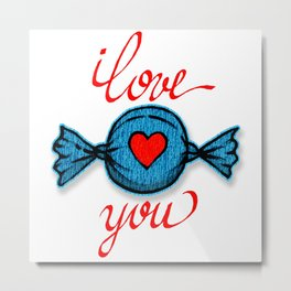 I love you (blue) written in red Metal Print