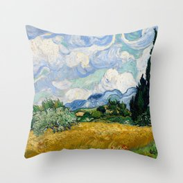 Vincent Van Gogh Wheat Field With Cypresses Throw Pillow