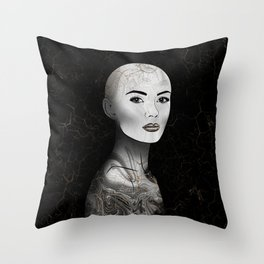 Midnight Raised - Black Marble and Gold #4 Throw Pillow