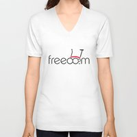 brompton V-neck T-shirts featuring Brompton Freedom by Abraham Wish