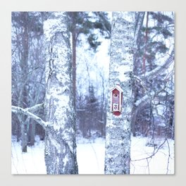 Red Bird House in Winter White Scene #decor #society6 #buyart Canvas Print